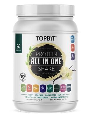 topbit, vanilla vegan protein powder, plant based protein powder, protein shake, protien