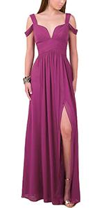 Women Sweetheart Cold Shoulder Wedding Bridesmaid Dress Long Leg Slit Maxi Skirt