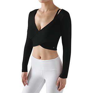 Deep V Neck Long Sleeve Cross Wrap Crop Tops