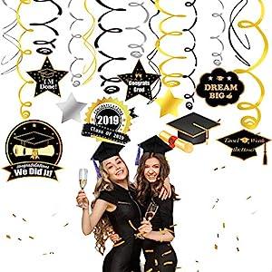 Party Supplies 2019 Graduation Decorations Hanging Swirls, with Pendants, Hanging Swirls