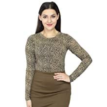 womens mock neck gold leopard tiger animal print high neck