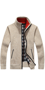 Men's Casual Slim Wide Stripes Full Zip Thick Knitted Cardigan Sweaters