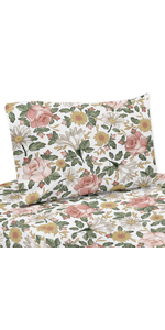 Vintage Floral Boho Queen Sheet Set - 4 piece set - Blush Pink, Yellow, Green and White