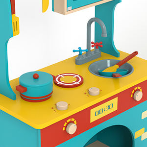 Wooden Pretend Play Kitchen Set for Kids Toddlers