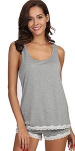 tank top pajamas sleeveless pajama set bamboo sleepwear shorts bamboo rayon lace pj jammies shirt