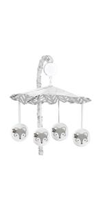 Grey and White Boho Tribal Herringbone Arrow Unisex Boy or Girl Baby Nursery Musical Crib Mobile