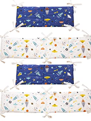 Brandream Crib Bedding Sets For Boys Outer Space Galaxy Astronaut Nursery Bedding With Diaper Stacker 4 Piece Rocket Planet 100 Cotton Baby Shower Gift