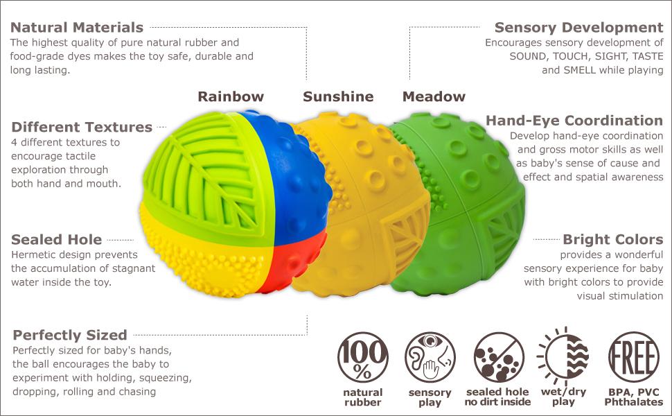 natural rubber sensory balls for babies sensory development play bpa free pvc free safe sealed hole
