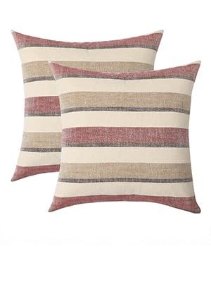 farmhouse pillow covers linen burlap striped blue