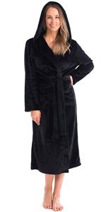 womens black hood bathrobe spa robe warm soft cozy pink red white blue luxury elegant belt
