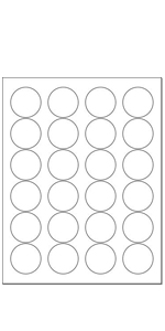 """White Labels (1.66"""" Round - 24 Per Page"""