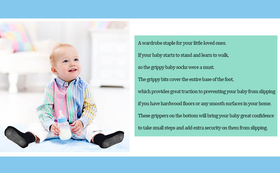 Kids Non Slip Toddler Boy Grip Socks 12 Pairs Anti Skid Sticky Socks for 1-10 Years Infants Baby Children