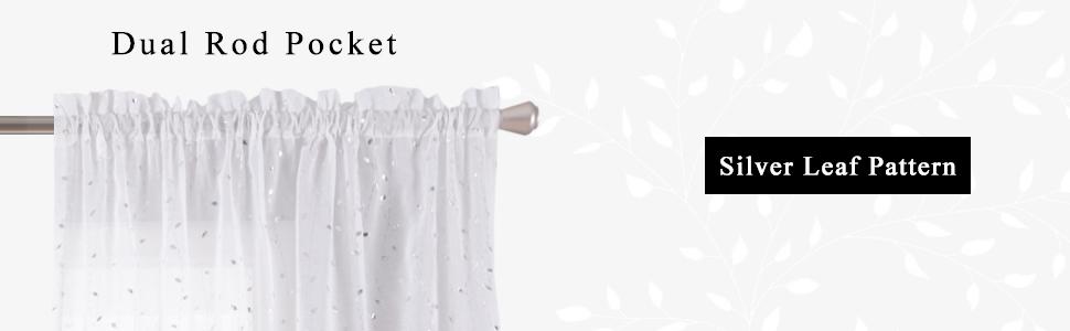 rod pocket top leaf sheer curtains for bedroom