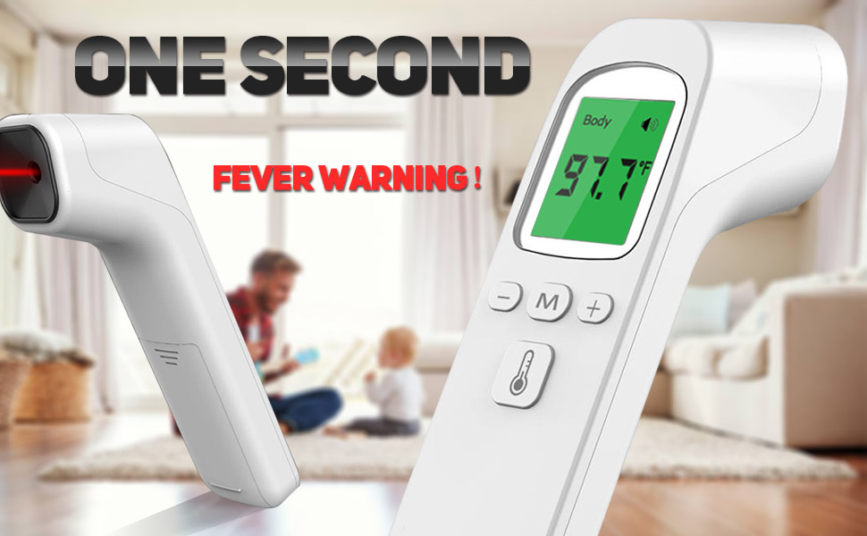 7-10 Days Arrive Non-Contact Infrared Temperature for Baby Kids and Adult,℉ Thermometer with 3 Backlights to Alert Fever Level 1`S Measurement Forehead Thermometer