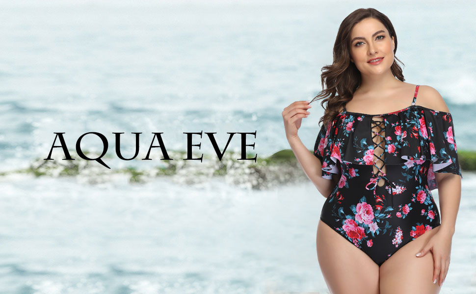 Aqua Eve Plus Size One Piece Swimsuits for Women Tummy Control Ruffle Bathing Suits
