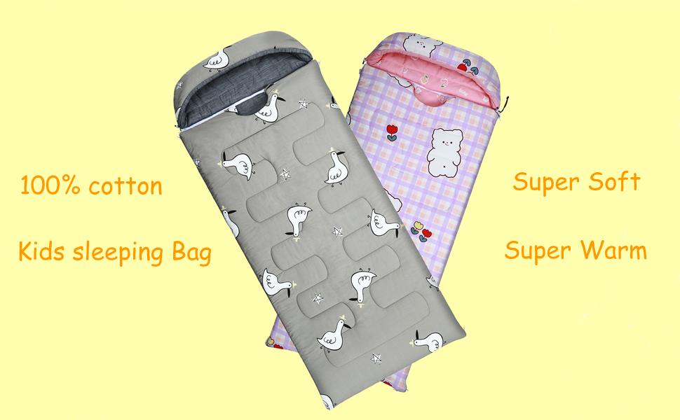 100% cotton kids sleeping bag