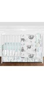 Blue and Grey Jungle Sloth Leaf Baby Unisex Boy or Girl Nursery Crib Bedding Set without Bumper