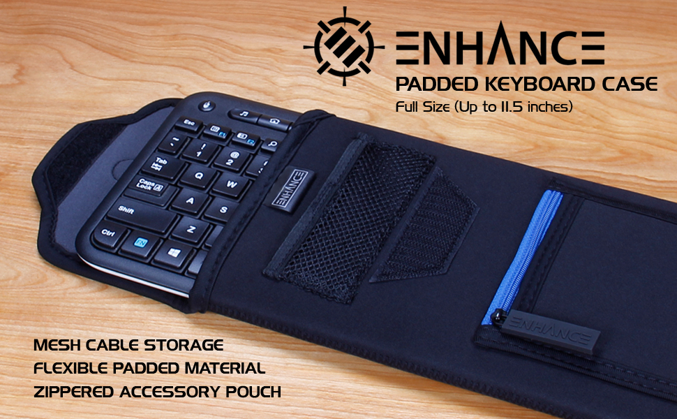 Portable Bluetooth Keyboard inside of the compact sleeve on desk