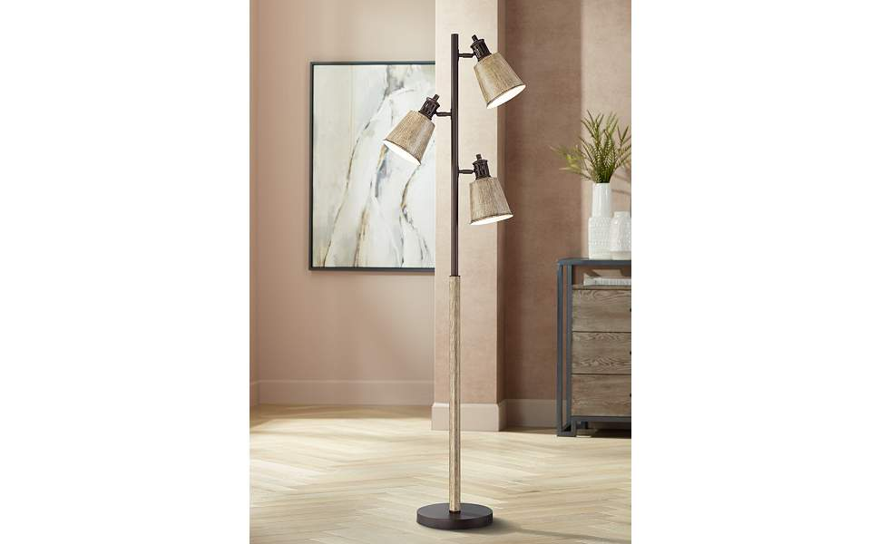 Oliver Bronze and Faux Wood Finish 3-Light Tree Floor Lamp
