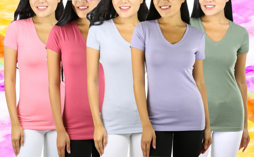 womens short sleeves v neck t shirts basic