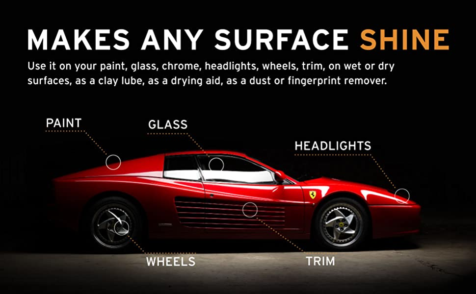Ethos Handcrafted Car Care Detail Spray works on glass, chrome, paint, and many more!