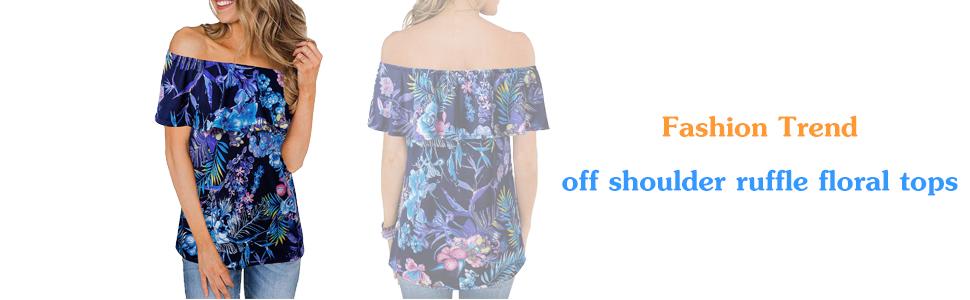 off shoulder floral tops