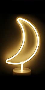 LED Moon Light Neon Signs with Base