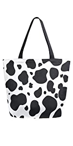 Cow Print Canvas Tote Bag