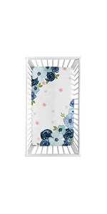 Navy Blue and Pink Watercolor Floral Girl Fitted Crib Sheet Baby or Toddler Bed Nursery Photo Op