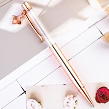 rose gold crystal empty tube floating pen