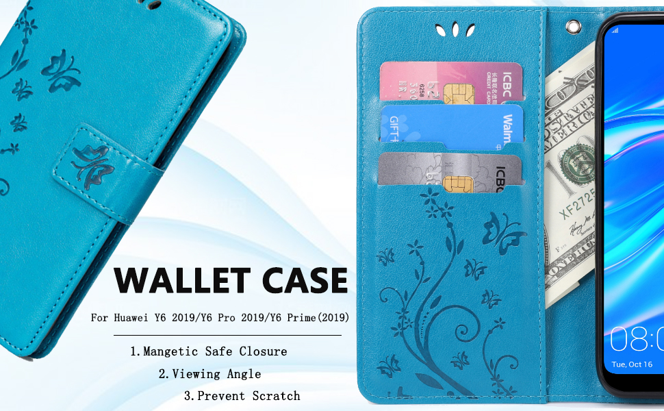 Teebo Wallet Case for Huawei Y6 2019/Y6 Pro(2019)/Y6 Prime (2019) Card Holder Embossed Butterfly Flower PU Leather Magnetic Flip Cover for Huawei Y6 ...