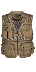 Mens Mesh Quick Dry Outdoor Work Fishing Travel Photo Vest with Multi Pockets