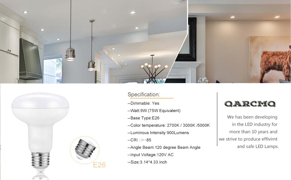 kitchen light bulbs  Flood Spot Lights Led br30 e26 Mini Reflector Floodlight canned light bulbs