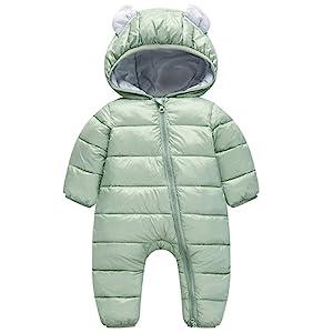 Happy Cherry Baby Adorable Hoodie Jumpsuit Snow Suit Winter Zip Up Long Sleeve One-Piece Coat