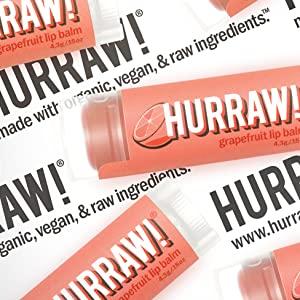 HURRAW Organic Vegan Cruelty Free Non GMO Gluten Free All Natural Luxury Grapefruit Lip Balm