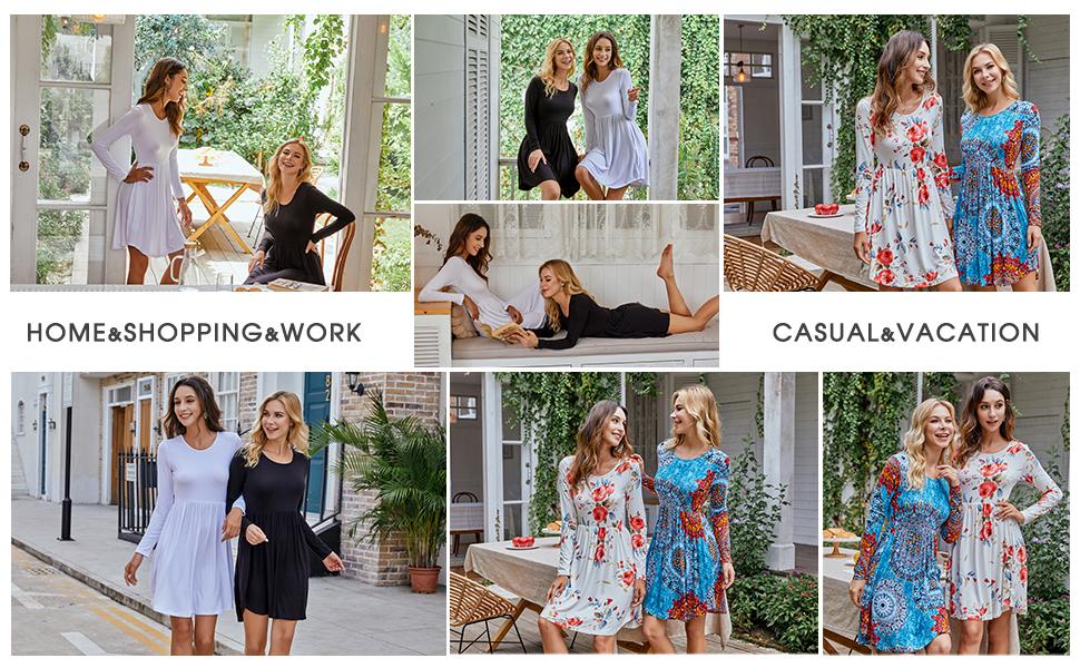 Women's Long Sleeve Dresses Casual Swing Dress