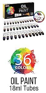 36 Colors Oil Paint 18ml Tubes