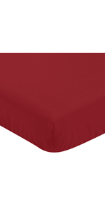 Sweet Jojo Designs Solid Red Baby or Toddler Fitted Crib Sheet for Baseball Patch Sports Collection