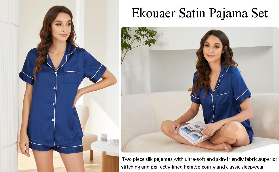 Satin Pajamas Women's Short Sleeve Sleepwear Silk Soft Button Down Loungewear Pjs Shorts Set