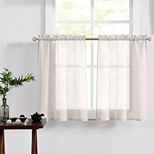 linen Tier Curtains travel trailerTextured 36 inch Small Short window rod pocket 2 panels
