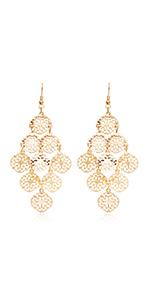 Boho Filigree Flower Motif Rhombus Shape Chandelier Tiered Dangle Statement Earrings