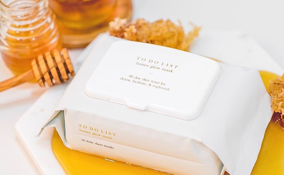 To Do List Honey Glow Mask 30 Premium Sheet Masks In Eco Friendly Packaging Korean Skin Care For All Skin Types
