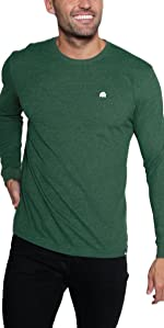 INTO THE AM model wearing Forest Green Basic Long Sleeve Men's Tee