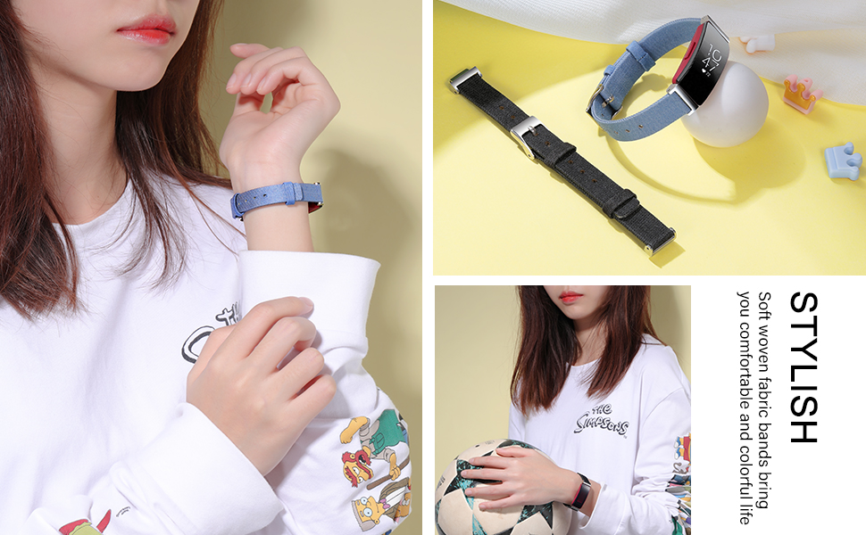 girl wearing the denim blue and denim black woven fabric bands for Fitbit Inspire