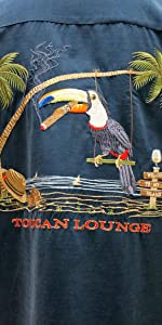 bamboo cay toucan lounge back embroidered camp shirt with pocket blue color big woven