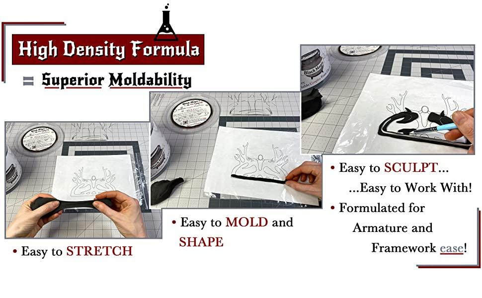 High Density Formula Easy to Stretch, Mold, Sculpt. Designed for Armature and Framework ease!