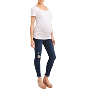 maternity scoop neck t shirt white tee