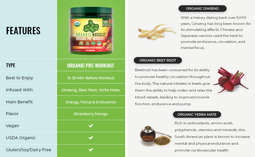 Organic Pre-Workout Features