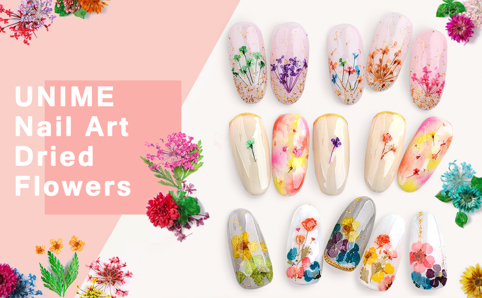 nail art dried flowers