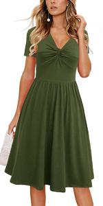 Women's Short Sleeve Casual Beach Summer Twist Knot Front V-neck Flowy A-Line Sundress Army Green